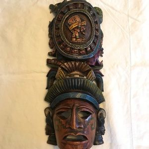Large Aztec Hand Carved Wood Mask